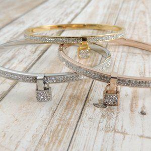 Lock Charm CZ Stone Bangle Bracelets Layering